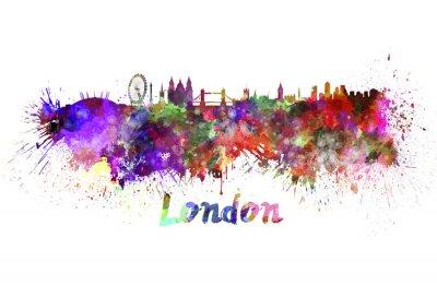 Quadro Skyline di Londra in acquerello