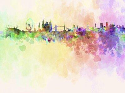 Quadro Skyline di Londra in acquerello sfondo