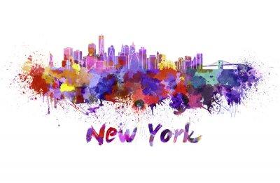 Quadro Skyline di New York in acquerello