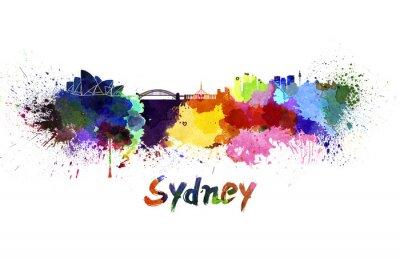 Quadro Skyline di Sydney in acquerello