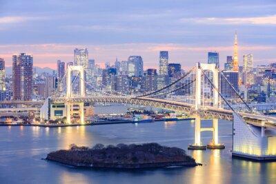 Quadro skyline di Tokyo con torre di Tokyo e il ponte dell'arcobaleno