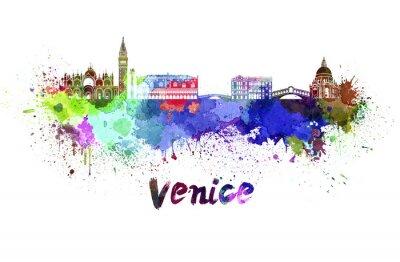 Quadro Skyline di Venezia in acquerello