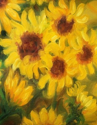 Quadro Soleggiato Girasoli pittura a olio su tela.