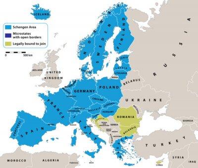 Quadro Spazio Schengen sulla mappa politica dell'Europa. Tutti i dati sono in strati per un facile editing mappa. Sfondo per i vostri infografica.