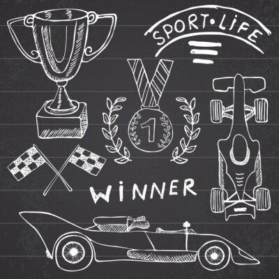 Quadro Sport oggetti auto doodles elementi. Hand drawn set con l'icona della bandierina. Bandiere a scacchi o corsa primo posto in Coppa premio. medaglia e auto rasing, illustrazione vettoriale gara. Disegno