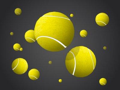 Quadro Spostamento di palle da tennis Volare, Cadere isolato su sfondo scuro.