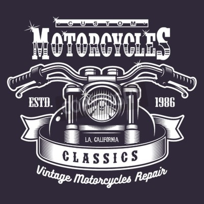 Quadro stampa moto d'epoca. In bianco e nero su sfondo scuro