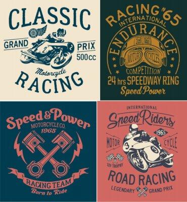 Quadro Stampe motociclistiche vintage per la maglietta del ragazzo
