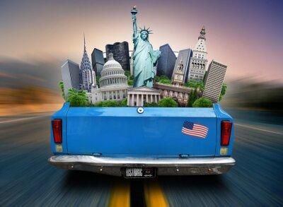 Quadro Stati Uniti d'America, attrazioni Uniti nel bagagliaio di una macchina in movimento
