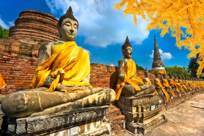 Quadro Statue del Buddha in Ayutthaya, Tailandia,