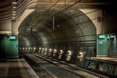 Quadro stazione ferroviaria e tunnel