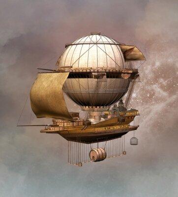 Quadro Steampunk dirigibile epoca