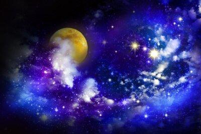 Quadro Stelle e la luna piena nel cielo notturno.