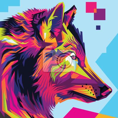 Quadro Stile Wolf illustrazione arte pop della testa di lupo