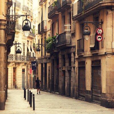 Quadro Strada nel quartiere gotico di Barcellona.