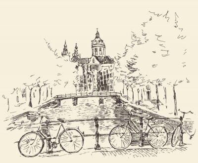 Quadro Strade di città di Amsterdam, illustrazione vettoriale