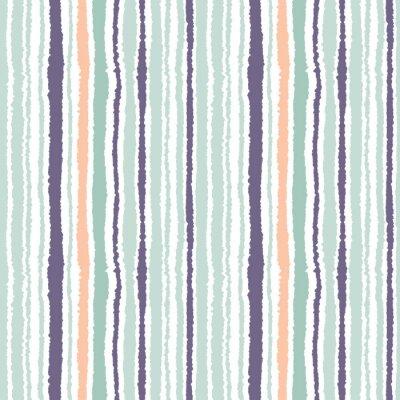 Quadro striscia modello trasparente. Le linee verticali con effetto carta strappata. sfondo bordo distruggere. Chiaro e grigio scuro, verde oliva, i colori turchese su fondo bianco. Vettore