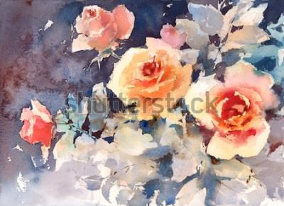 Quadro Struttura floreale del fondo dei fiori delle rose dell'acquerello dipinta a mano