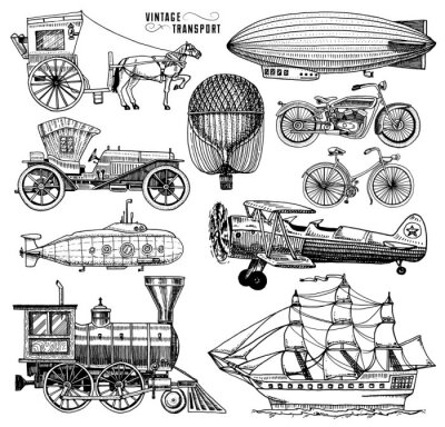 Quadro Submarine, barca e auto, moto, Carro trainato da cavalli. Airship o dirigibile, air balloon, aerei corncob, locomotiva. Mano incisa disegnata in vecchio stile schizzo, trasporto di passeggeri vintage.