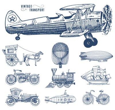 Quadro Submarine, barca e auto, motocicletta, Carro trainato da cavalli. Aeronautica o dirigibile, mongolfiera, aeroplani, locomotiva. Mano incisa disegnata in vecchio stile schizzo, trasporto di passeggeri