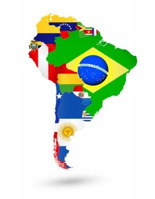 Quadro Sud America Mappa con le bandiere e posizione sulla mappa del mondo