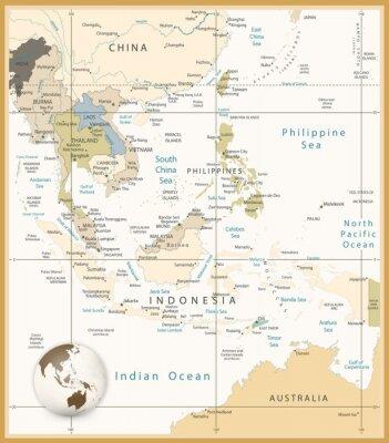 Quadro Sud-Est asiatico mappa dettagliata colori retrò
