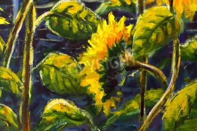 Quadro sunflowers in sun Original oil painting of sunflower flowers, beautiful sunflowers flowers on canvas. Modern Impressionism.Impasto artwork.