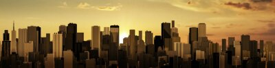 Quadro Sunrise-sunset city panorama / 3D render of modern city at sunrise or sunset