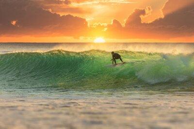 Quadro Surfista Surfing at Sunrise