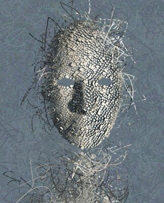 Quadro Surreale astratto Maschera con molti fili