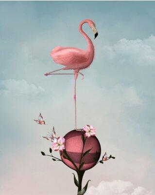 Quadro Surreale composizione con fenicottero e fiori