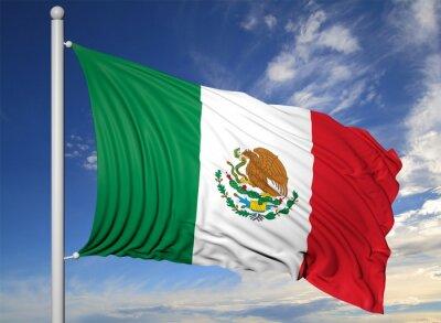 Quadro Sventolando la bandiera del Messico sul pennone, su sfondo blu cielo.