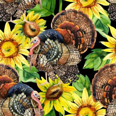Quadro tacchino Acquerello con girasoli seamless pattern