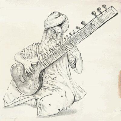 Quadro Tanpura Player - vector illustration (converted)