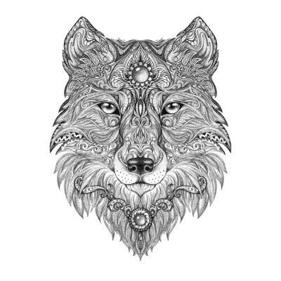 Quadro Tattoo testa di lupo bestia selvaggia preda