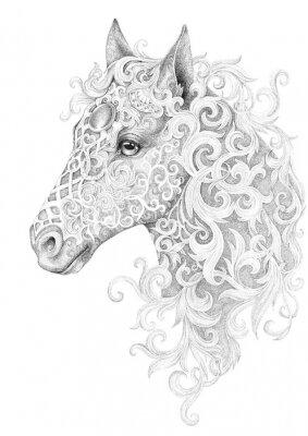 Quadro Tatuaggio, bella testa di cavallo con la criniera