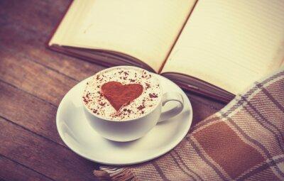 Quadro Tazza di caffè e libro con la sciarpa