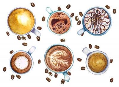 Quadro Tazze di caffè dell'acquerello, isolate su fondo bianco con i chicchi di caffè, vista superiore.