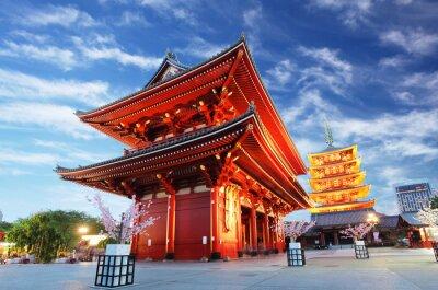 Quadro Tempio Asakusa con pagoda di notte, Tokyo, Giappone