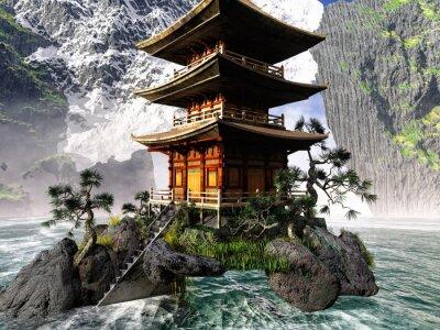 Quadro Tempio buddista in montagne rocciose