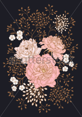 Quadro Template vintage card for the design of wedding invitations, greetings. Floral exotic vintage decoration. Garden flowers peonies. Ancient oriental style. Vector illustration art.