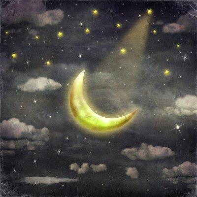 Quadro Tempo di notte con le stelle e la luna