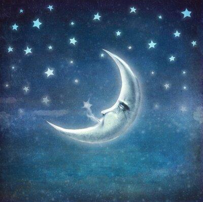 Quadro Tempo di notte con le stelle e la luna, fondo