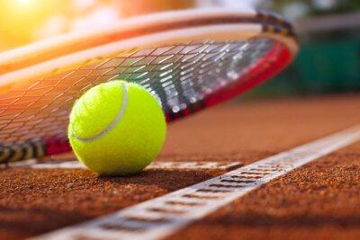 Quadro .tennis palla su un campo da tennis