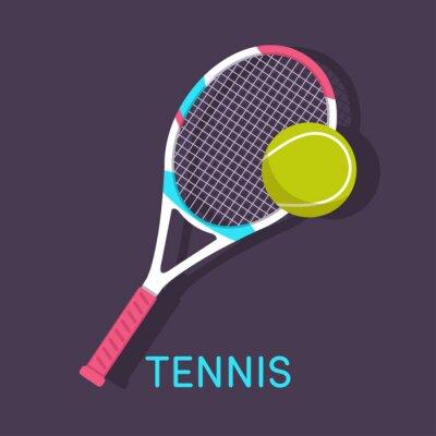 Quadro Tennis, racchetta, palla sfondo marrone