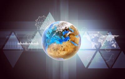 Quadro Terra con mappa del mondo