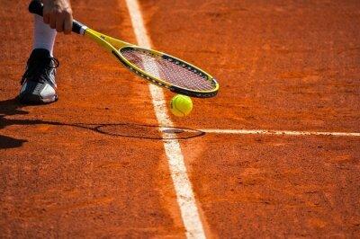 Quadro Terrain de tennis, racchette et balle jaune