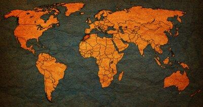 Quadro territorio marocco sulla mappa del mondo