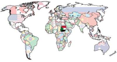 Quadro territorio sudan sulla mappa del mondo