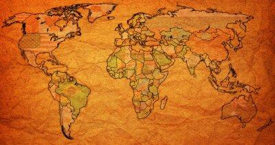 Quadro territorio Suriname sulla mappa del mondo